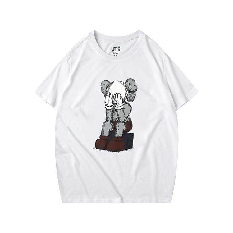 4af9f3ac UNIQLO X KAWS X SESAME STREET 2019SS High quality cotton printed  comfortable round collar and short
