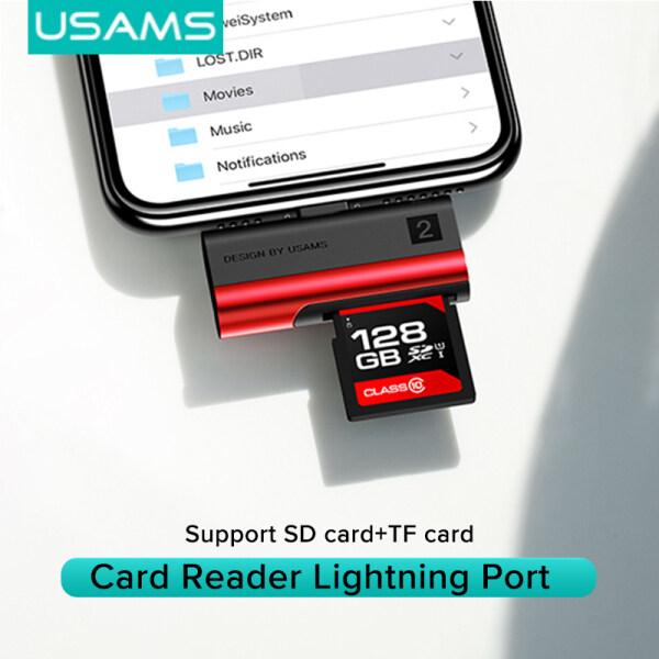 USAMS Card Reader Lightning Port (SD card+TF card)  For Iphone /tablet with Lightning port with iOS 13 above Red