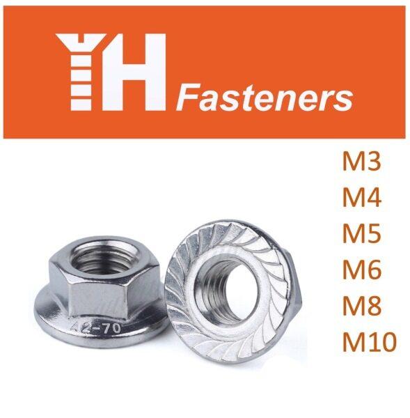 (10 pcs) M3 M4 M5 M6 M8 M10 Hexagon Flange Nut DIN 6923 Stainless Steel AISI 304 (A2)
