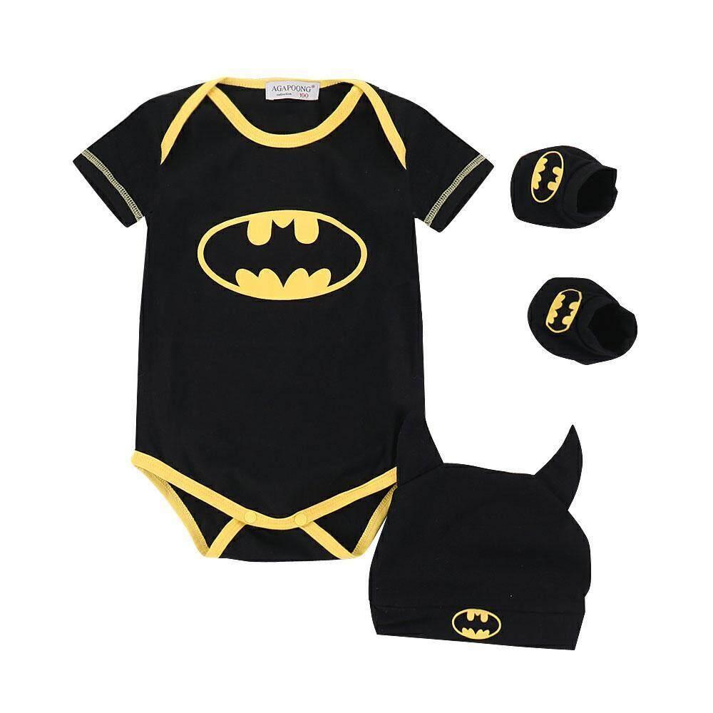 a498885d6 DS-Mart Newborn Baby Boy Clothes Monster Cartoon Rompers Jumpsuit Hats  Shoes 4pcs