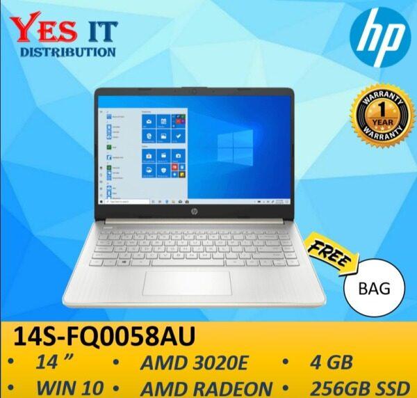 "HP 14S-FQ0058AU 14""  LAPTOP (AMD 3020E, 4GB, 256GB SSD, RADEON GRAPHICS, W10)-- FREE BAG Malaysia"