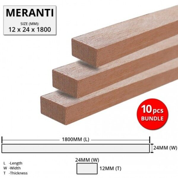 Meranti Wood Timber Smooth Planed Surfaced Four Sides (S4S) 12MM (T) x 24MM (W) x 1800MM (L) - 10PCS