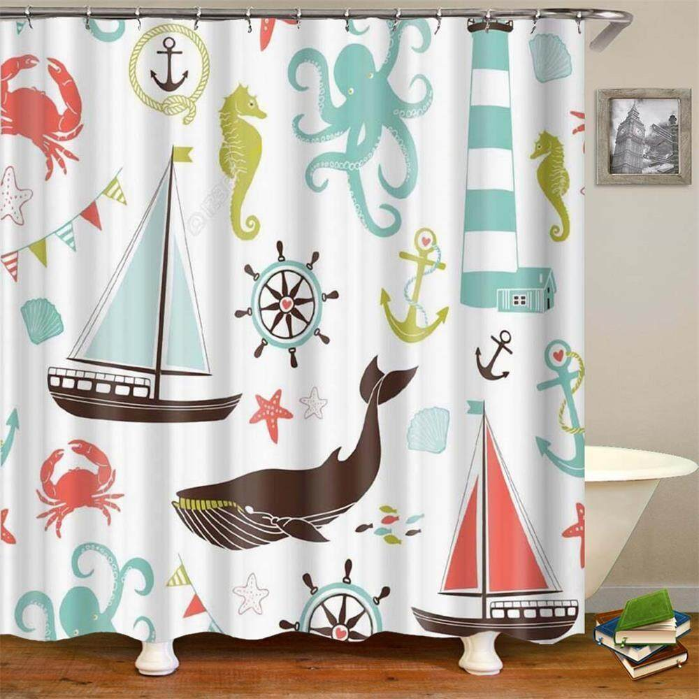 Polyester Owl Shower Curtain Bath Curtains Bathroom Liner Bath Hanging Decor
