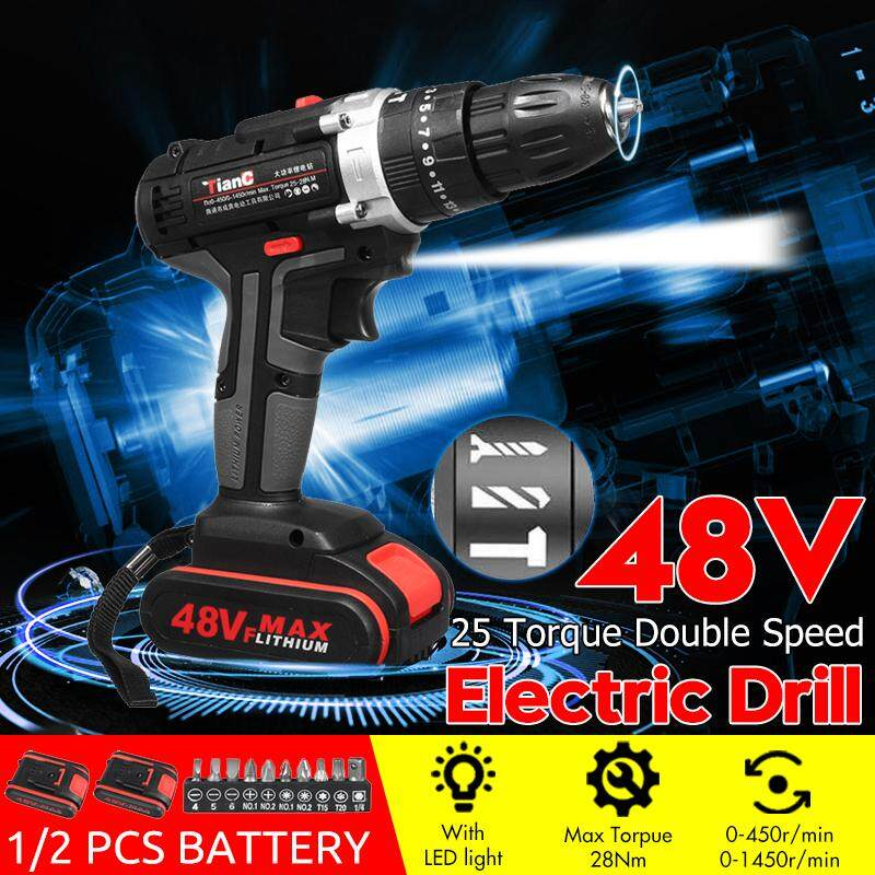 48V Ele ctric Drill Hammer Rechargeable Cordless Drill Woodworking 1/2 Batt ery