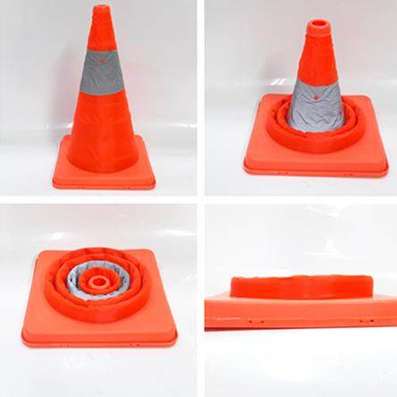 millionhardware - 42mm / 16 Telescopic Folding Road Cone Barricades Warning Sign Reflective Oxford Traffic Cone Traffic Facilities For Road Safety