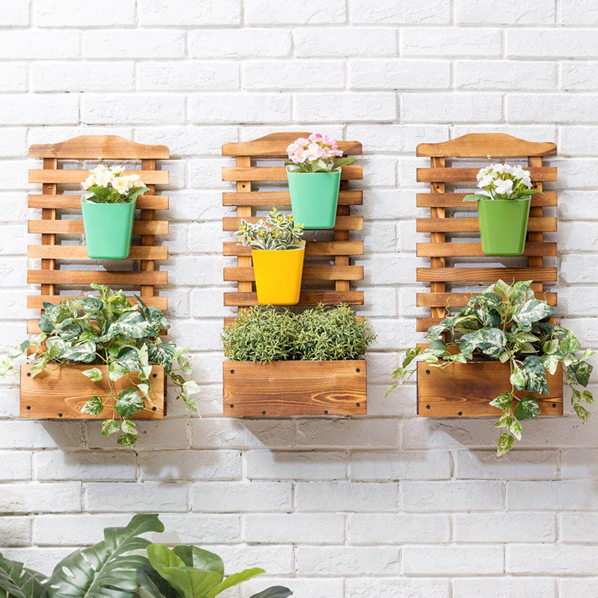 Mu Ma Ren Two wall-mounted flower shelf solid wood floor indoor multi-storey balcony living room fleshy flower pot Renting/Decoration
