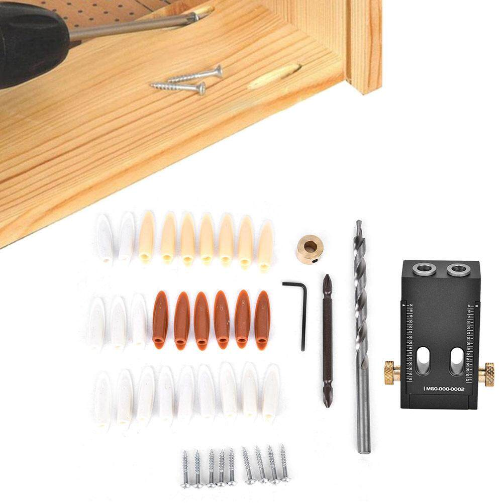(Qianmei+Ready Stock)Pocket Hole Jig Puncher Woodworking Drilling Locator Positioner Kit DIY Carpentry Tools