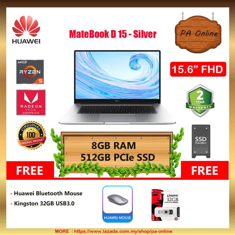 Huawei MateBook D 15  -AMD Ryzen 5-3500U /8GB RAM /256GB SSD+1TB HDD /15.6 FHD IPS /AMD Radeon Vega 8 Graphics /Win 10 /2 Years Malaysia