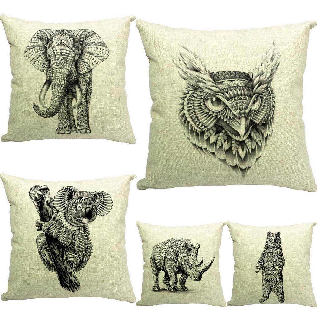 Bigood Pack of 5 Animal#B Cushion Cover Cotton Linen 18x18 Decors Pillowcases Sofa Pillow Cover