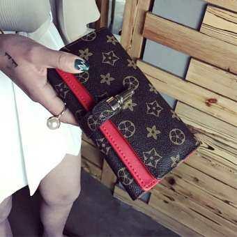 สไตล์ล็อคการพิมพ์คู่กระเป๋าสตางค์ PU Retro รูปแบบกระเป๋าสตรีขนาดกลางยาวสนับสนุน Distribution-