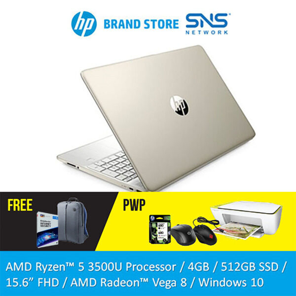 NEW HP Laptop 15s-eq0067AU / 15s-eq0068AU 15.6  FHD (AMD Ryzen 5 3500U, 512GB SSD, 4GB, AMD Radeon Vega 8, W10) - (Silver/Gold) [FREE] HP Backpack + 1 Year Bitdefender Internet Security Malaysia