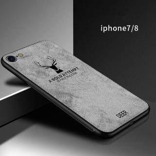 Cho [Apple iPhone 7 8] Ốp Lưng Họa Tiết Nai Sừng Tấm Dệt Vải Bạt Mềm Hình Hươu Cổ Điển thumbnail