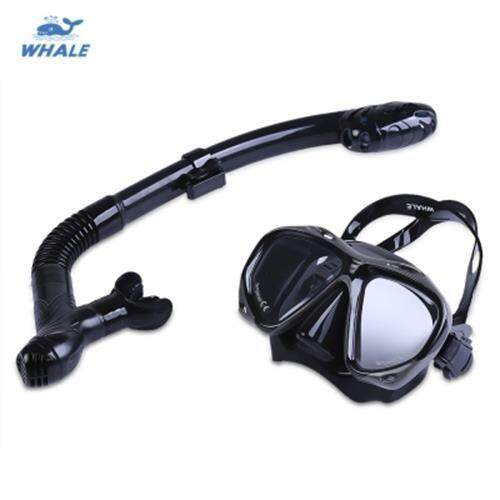 WHALE PROFESSIONAL DIVING WATER SPORTS TRAINING SILICONE MASK SNORKEL GLASSES SET (BLACK)