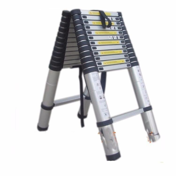 Double-sided 2M+2M Alloy Aluminum Straight Telescopic Ladder Step Ladder