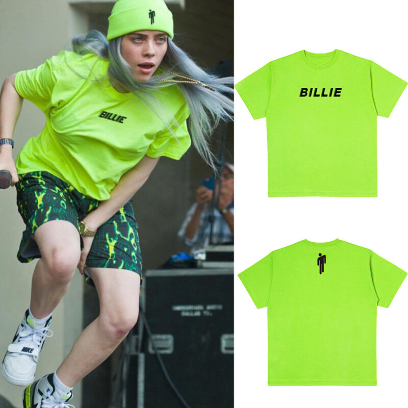 Billie Eilish Yellow Green T Shirt Black Letter Streetwear Grunge Short Sleeve Tops Lazada