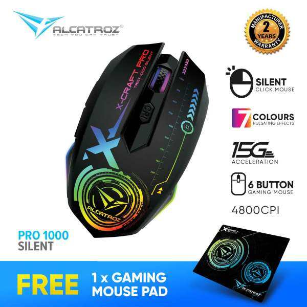 Alcatroz X-Craft Pro Silent Click Series 4800 CPI Gaming Mouse with Lighted LED Free Mousemat Malaysia
