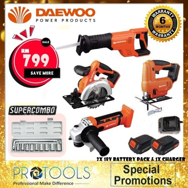 DAEWOO COMBO 18V CORDLESS Combo A & COMBO B with 4 solo-set and 2 Battery 1 Charger - 6 MONTH WARRANTY