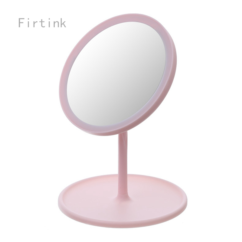 Cermin kosmetik lampu LED, cermin rias kecantikan, lampu LED, cermin meja putar, dapat disesuaikan