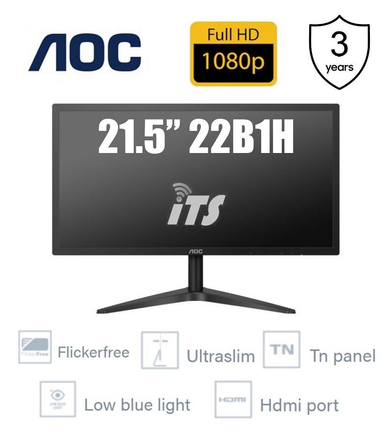 AOC 21.5  22B1H Full HD TN Panel Monitor - (5ms/Ultra Slim/Flicker Free/Low Blue Light/HDMI) Malaysia