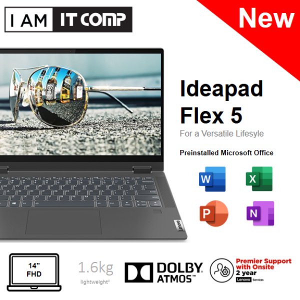 Lenovo IdeaPad Flex 5 14ITL05 82HS009EMJ 14 Laptop Grey (I3-1115G4/8GB/256GB SSD/W10) FREE WIRELESS MOUSE & F-SECURE 1YEAR Malaysia