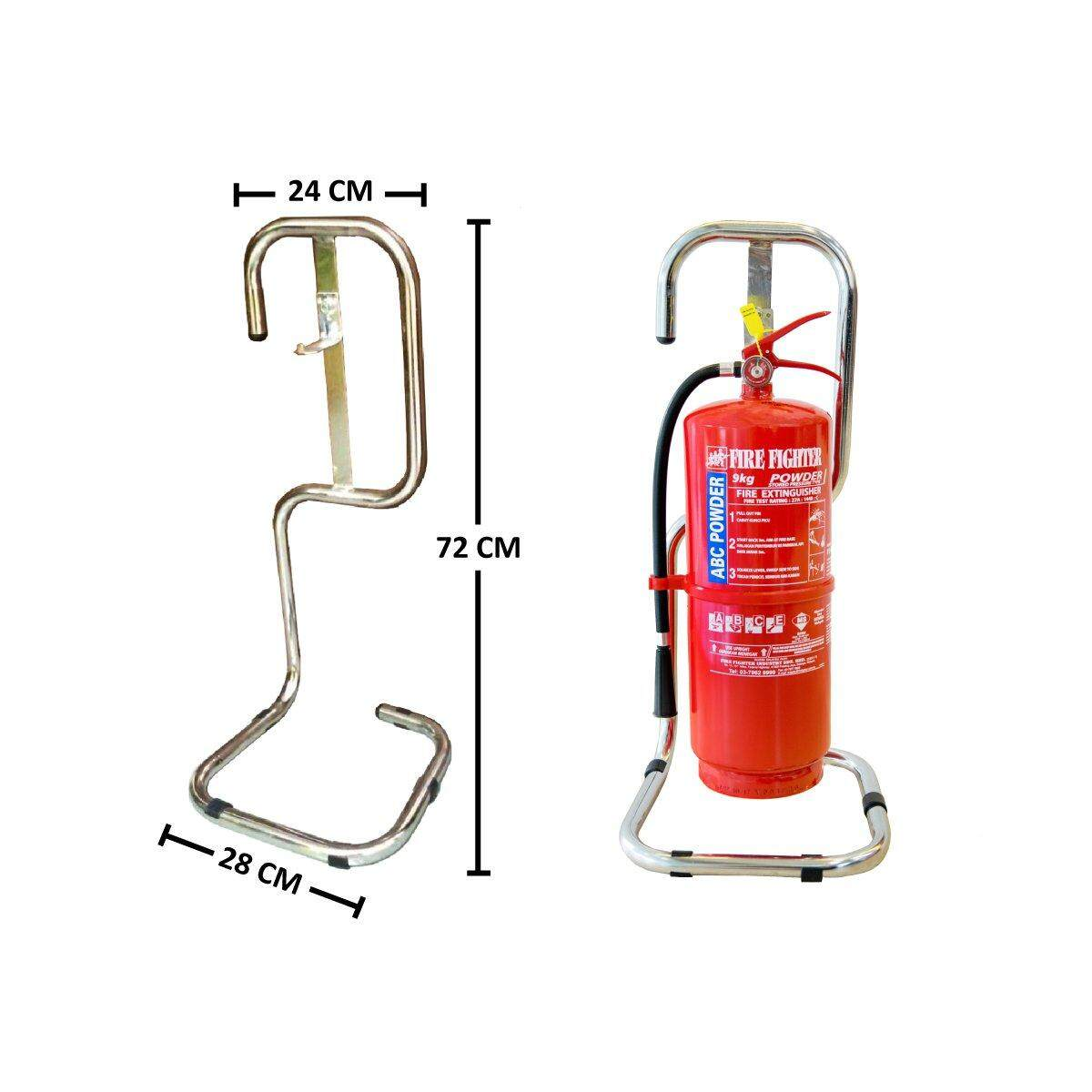 Single Fire Extinguisher Stand - Chrome