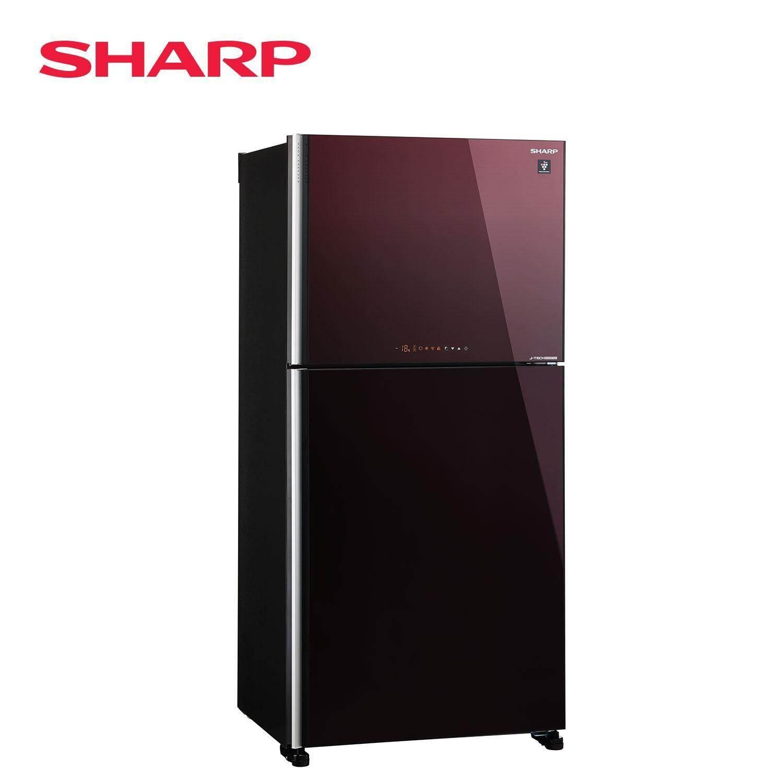 SHARP SJP68MFGM FRIDGE 2 DOORS J-TECH INVERTER 610L MEGA FREEZER PCI GLASS MAROON