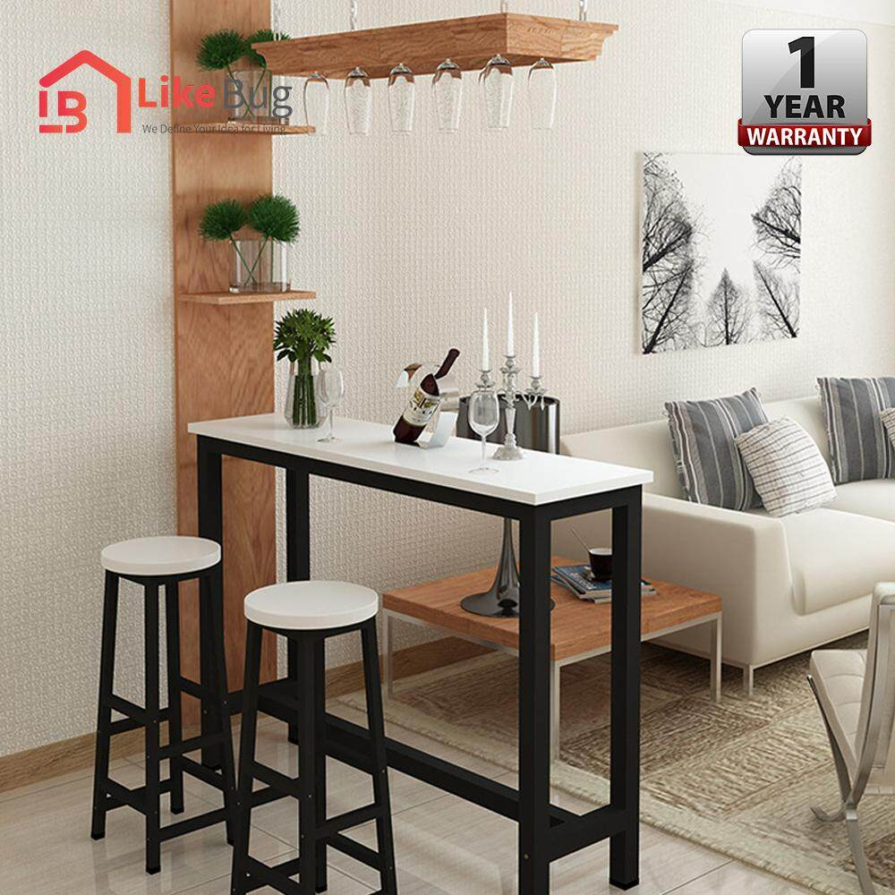 LIKE BUG: [160/40/100]  CIEL Living Room Simple Table [BLACK  STEEL]  & 2x Chair Combination Coffee High Table Long Bar  with 1 Year Warranty
