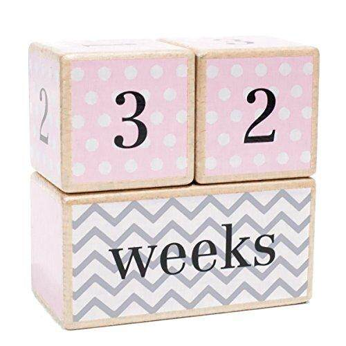 Premium Solid Wood Milestone Age Blocks   Choose from 3 Different Color Styles (Pink)   Baby Age Photo Blocks   Perfect Baby Shower Gift and Keepsake by LovelySprouts