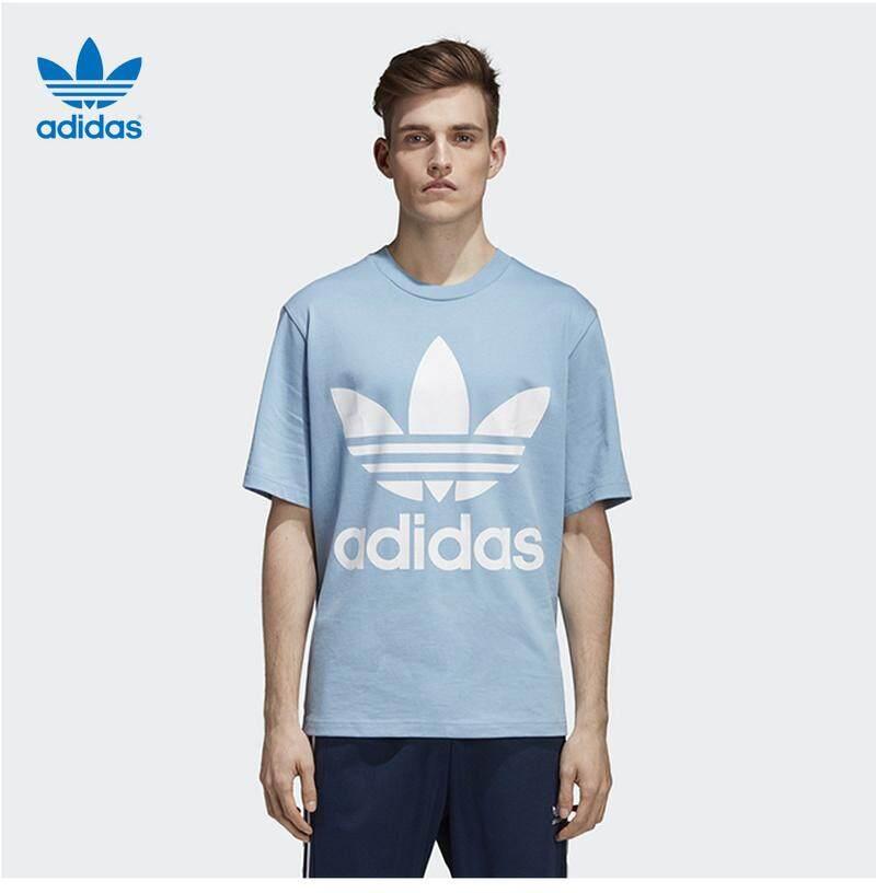 Adidas Clover 2019 ฤดูร้อนผู้ชายใหม่โลโก้ขนาดใหญ่หลวมแขนสั้นเสื้อคู่ผ้าฝ้ายเสื้อยืด VD4375