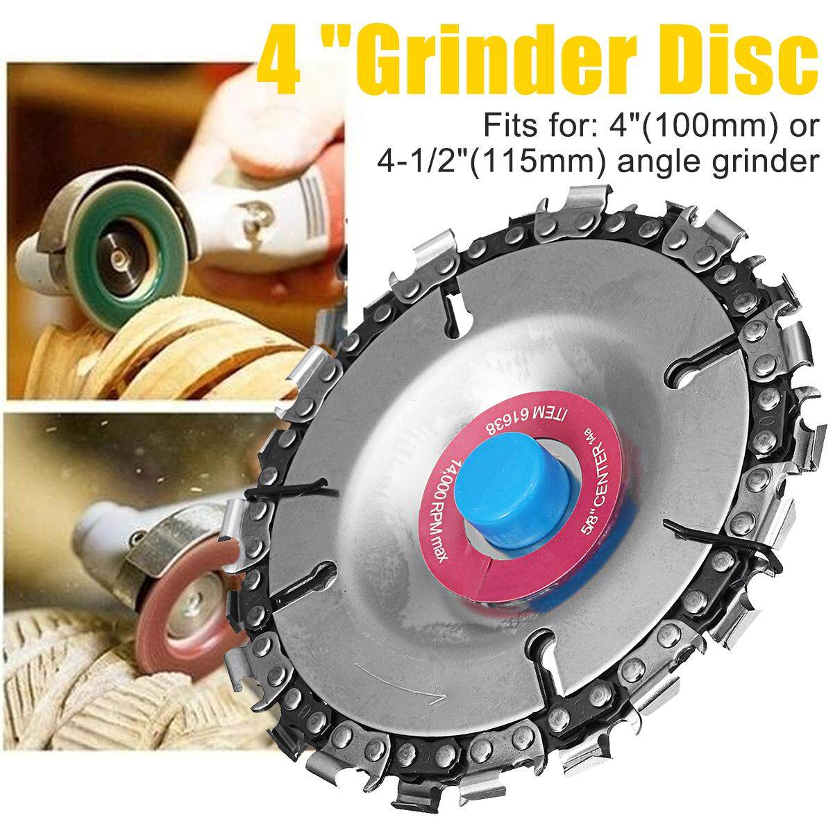 4 Inch Grinder Disc And Chain 22 Tooth Fine Cut Chain Set for 100/115 Angle Grinders
