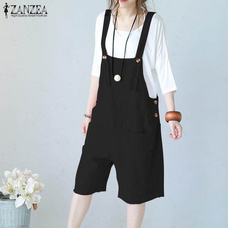eb1db0ee4d ZANZEA Women Bib Trousers Shorts Playsuit Dungarees Jumpsuit Cotton Wide  Leg Overalls