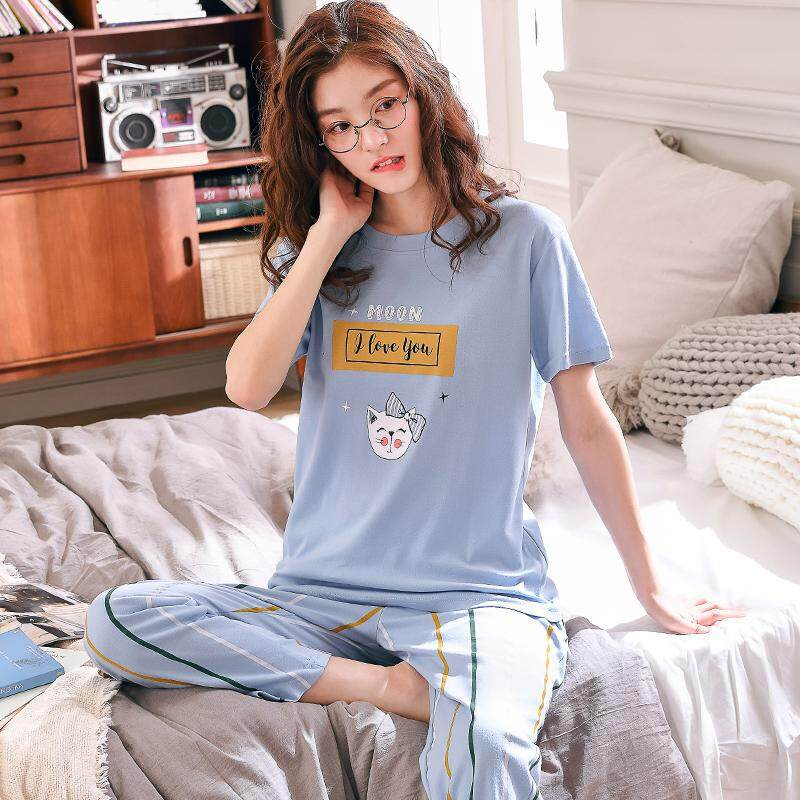 f956ee86dad1 Home Summer Trousers Short Sleeve Women s Pure Cotton Pajamas Cute Large  Size Set Spring Summer Korean