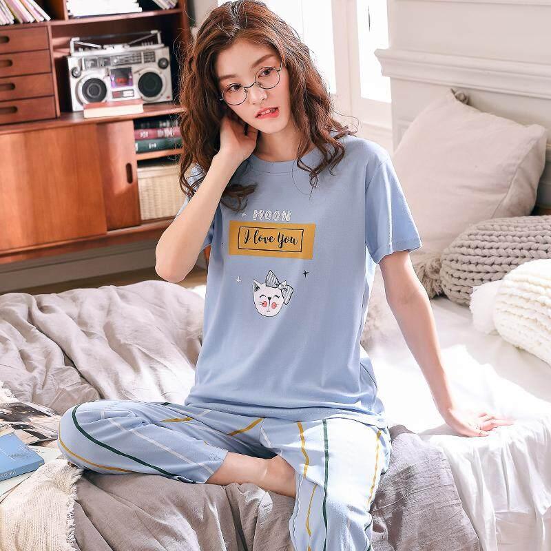 3c22baebbc70 Home Summer Trousers Short Sleeve Women s Pure Cotton Pajamas Cute Large  Size Set Spring Summer Korean