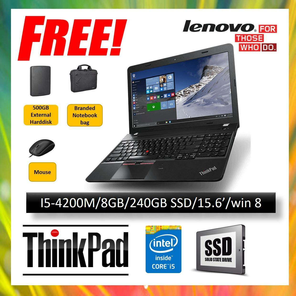 (REFURBISHED NOTEBOOK) LENOVO THINKPAD E540 LAPTOP / I5-4200M CPU / 8GB RAM / 240GB SSD HARD DISK / 15.6 INCH / WINDOW 8.1 Malaysia