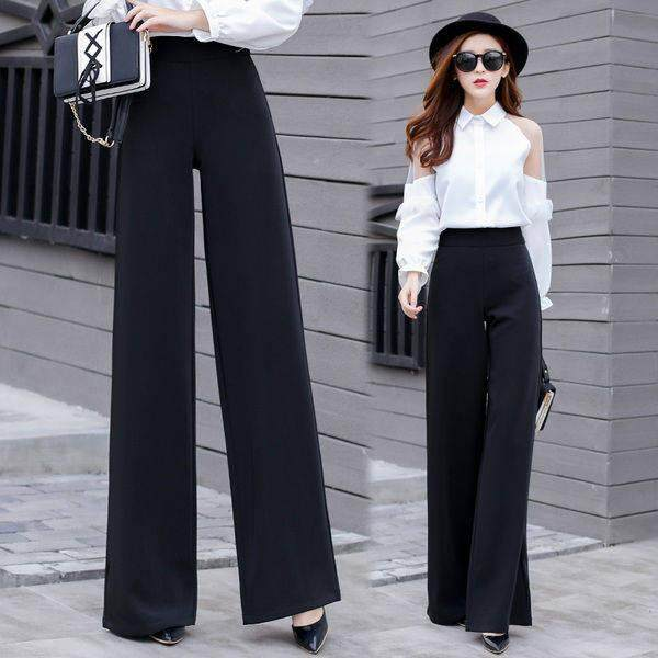 4a18517df HONGX Mopping pants female Korean version loose loose casual trousers  straight pants wild high waist wide