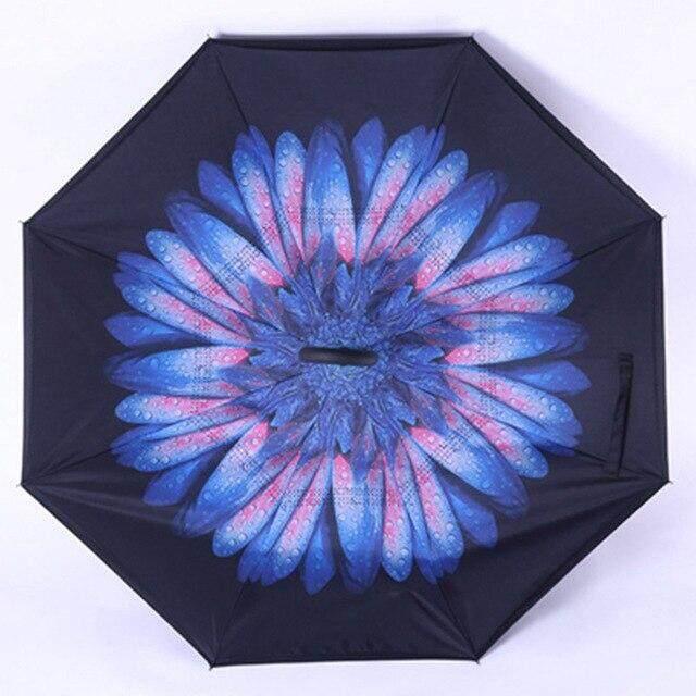 Fancytime inversa paraguas de la lluvia para las mujeres plegables doble capas para los hombres de soporte de las mujeres paraguas invertido a prueba de viento paraguas,901