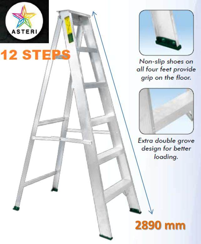 12 Steps Aluminium Single Sided Ladder SM-12