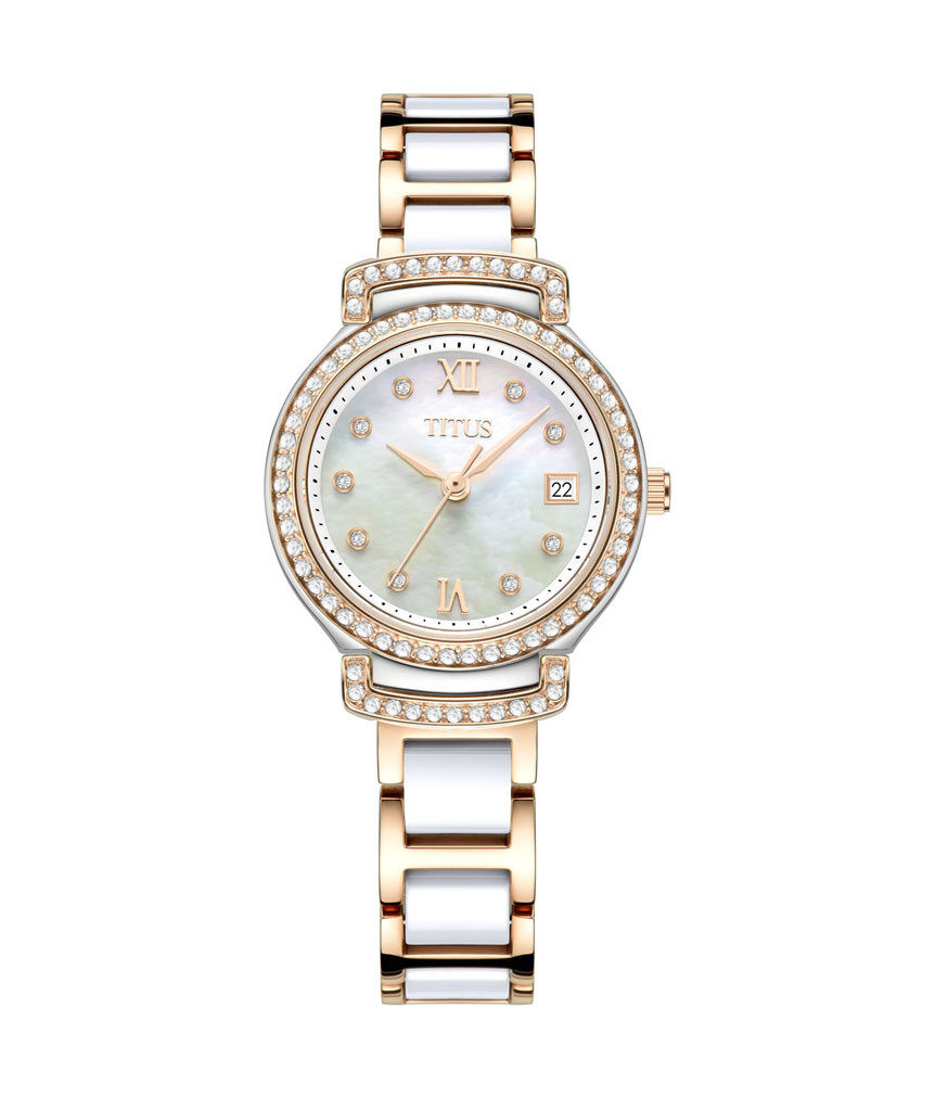 Solvil et Titus Womens Quartz Analogue Watch in Mother of Pearl Dial and Stainless Steel with Ceramic Malaysia