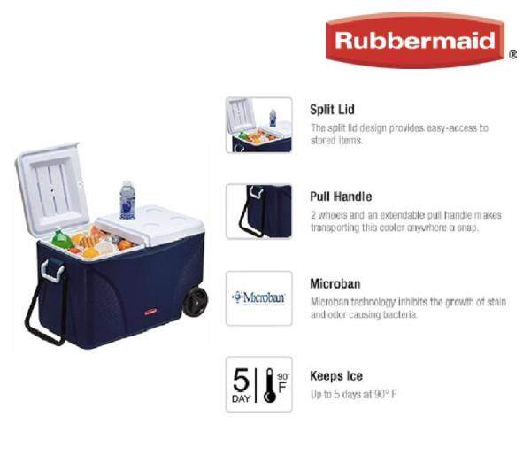 Rubbermaid 75 Qt. DuraChill™ Extreme 5 Day Wheeled Cooler Set (Modern Blue)