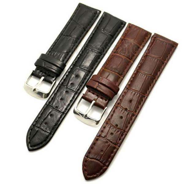 AIKEN 18/20/22/24/26mm Black/Brown Leather Wrist Watch Band Accessory Replacement Malaysia
