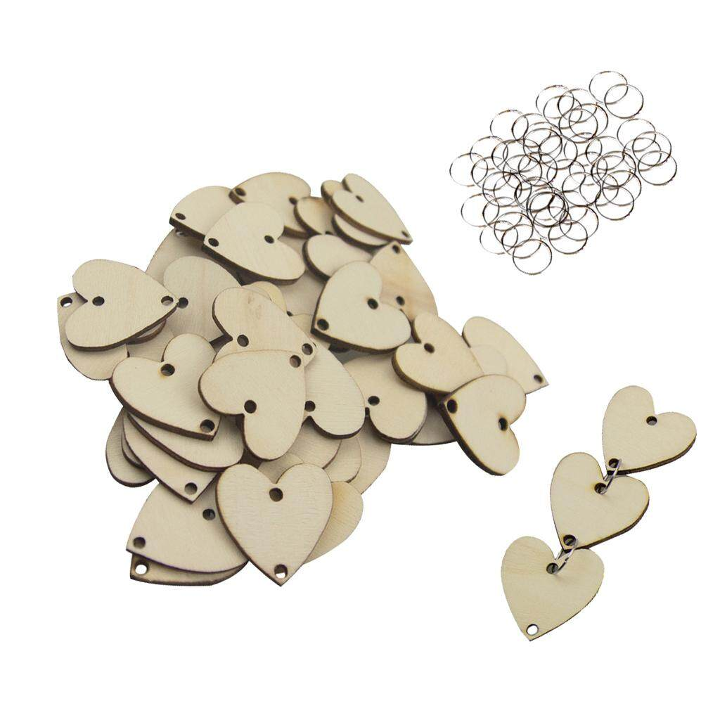 Loviver 50 Pieces Plain Blank Heart Wooden Grain Chips Circles Discs Board Tag Craft By Loviver.