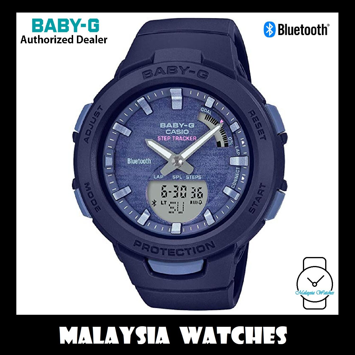(OFFICIAL WARRANTY) Casio Baby-G BSA-B100AC-2A G-Squad Step Tracker Bluetooth Womens Blue Resin Watch BSAB100AC-2A Malaysia