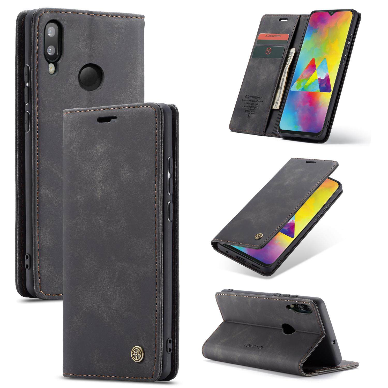 สำหรับ Samsung Galaxy M20 M205 เคสแบบพับปิดได้ Retro Flip หนัง PU + นุ่ม TPU ซิลิโคนฝาหลังความรู้สึกด้านกระเป๋าสตางค์ปิดแม่เหล็กกระเป๋าสตางค์ช่องเสียบบัตร full แผ่นป้องกันกันกระแทก 6.3 นิ้วสำหรับ Samsung M20