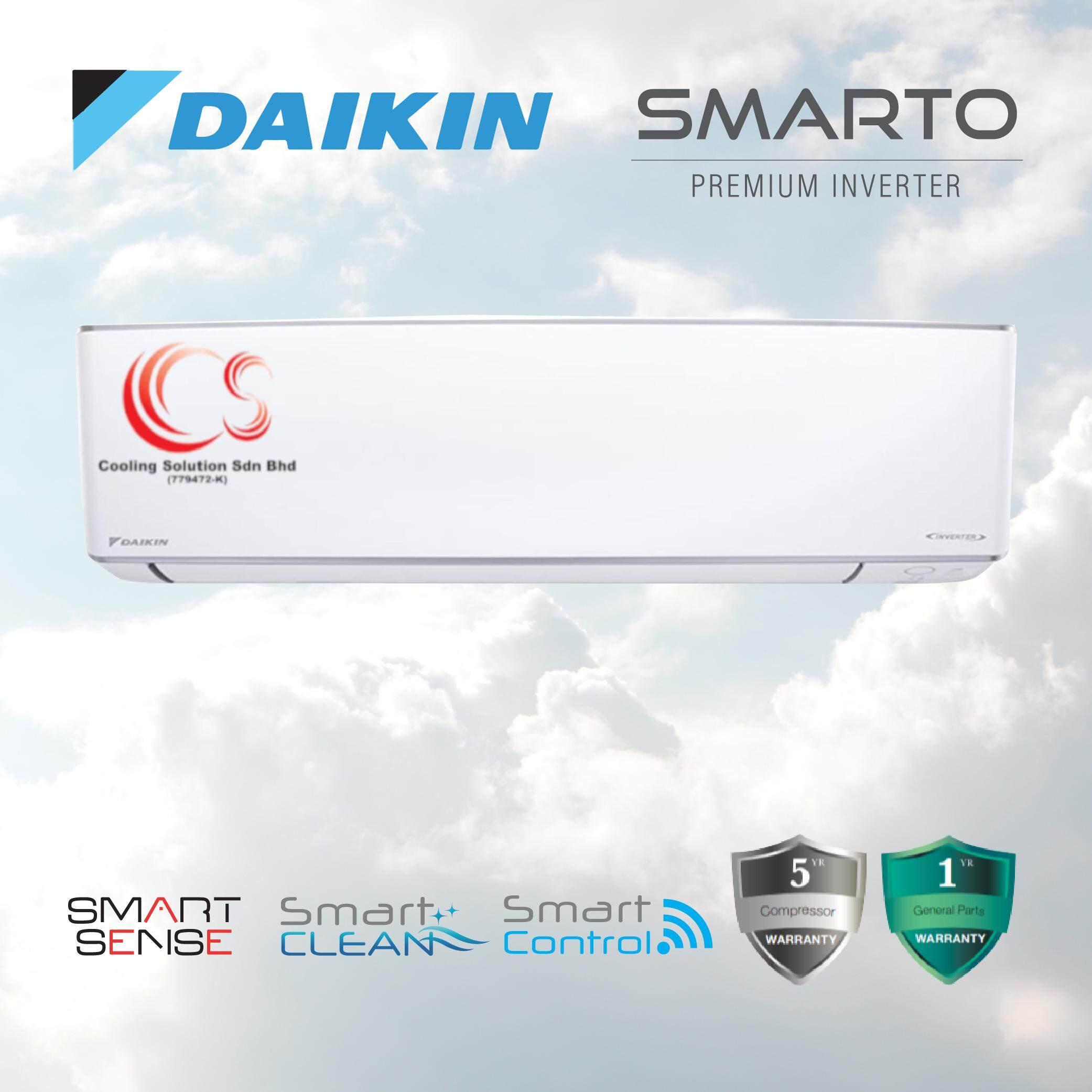 Daikin Air Conditioner SMARTO Premium R32 Inverter 1.5HP FTKH35A/RKU35F-3WMY-L + Smart Sense + Smart Clean + Smart Control