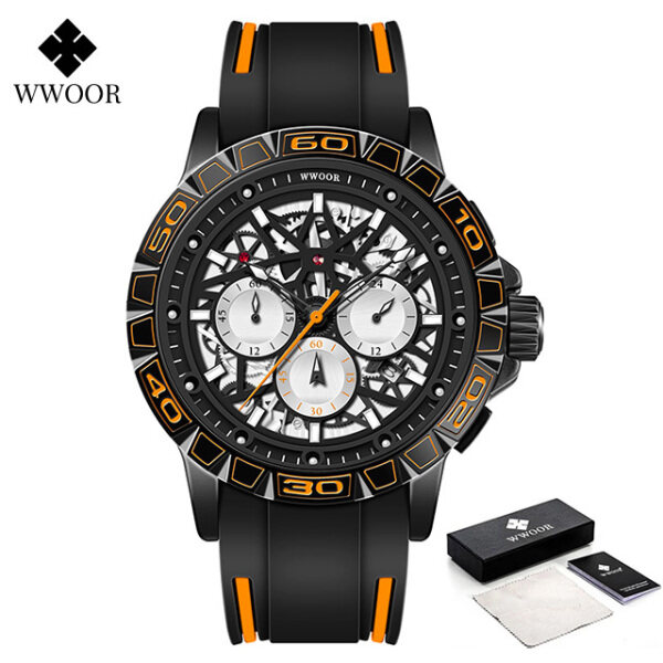 2021 WWOOR New Mens watches Original Chronograph Watch For Men Fashion Hollow Design Swimming Sports Waterproof Quartz Mens  Wrist Watches With  Free Box-8842 Malaysia
