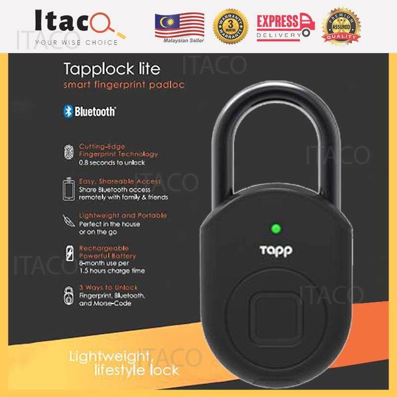 ITACO Tapplock Lite Safety Pad Lock Stainless Steel Door Bag Battery Smart  Fingerprint Bluetooth Morse Code History Track Water Weather Proof