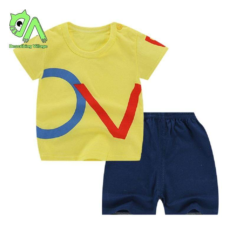 852ee61012a8e Village 2PCS/Set Kids Boy T-Shirts and Shorts Girls Short Sleeve Tops and  Short Pants Trousers Summer Children Cute Cartoon Print Suit