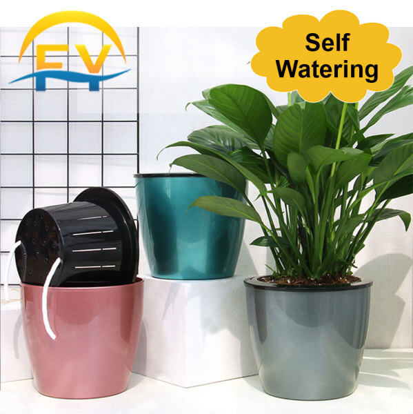 FY Self Watering Absorb Flower Plant Lazy Pot Simulated Metal