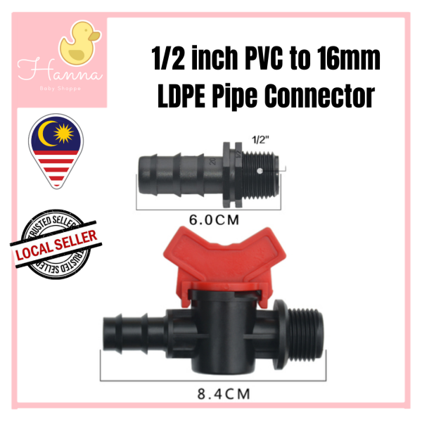 16mm LDPE Polypipe to 1/2 Half Inch PVC Screw Connector Adapter Valve