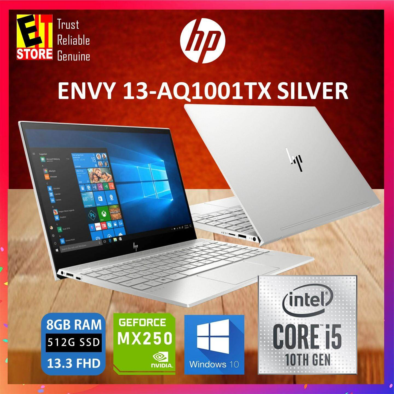 HP ENVY 13-AQ1001TX SILVER (I5-10210U/8GB/512GB SSD/13.3 FHD/MX250 2GB/W10/2YRS) (8AZ44PA) Malaysia